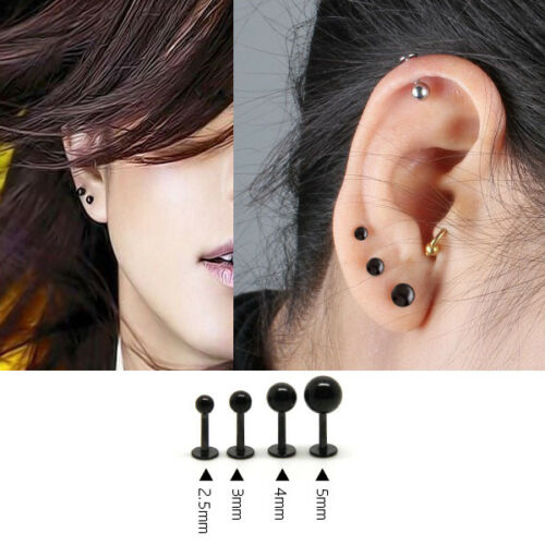 Set of 4 Paris Hypoallergenic Titanium Steel Stud Ear Earrings 2.5~5 MM