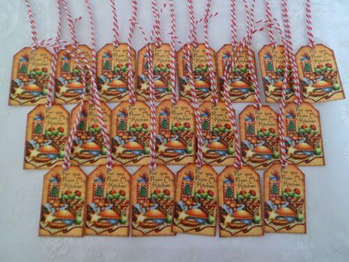 20012 nostalgia-navidad 21 colgantes de regalo remolque-etiquetas-Vintage-retro