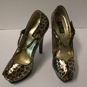 Pin-Up-Couture-Pleasure-Peep-Toe-Heels-Size-7-Cheetah-Gold-Patent-Pinup