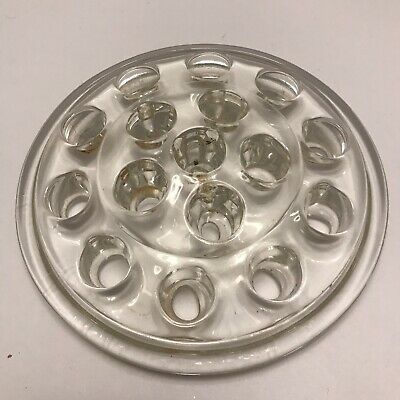 Other Antique Glass Vintage Flower Frog Crystal Glass 16 Hole Flower Holder 5 Antiques