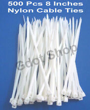 "500 PCS 8 "" INCH CABLE TIE 200 MM WHITE NYLON CABLE TIE ZIP WIRE ORGANISER TIE"
