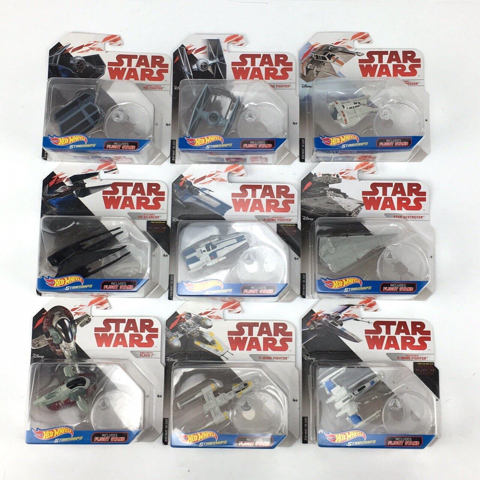 Lot Of 9 Hot Wheels Star Wars Starships Boba Fett Darth Vader Kylo Ren Rebel