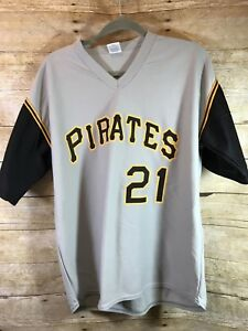 buy online 7bee0 4e69d Details about Park Anthony Label ROBERTO CLEMENTE No. 21 PITTSBURGH PIRATES  (XL) Jersey Grey