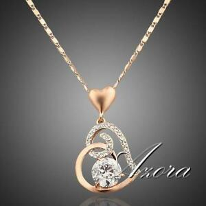 Women love heart chain necklace crystal 18k rose gold plated image is loading women love heart chain necklace crystal 18k rose mozeypictures Choice Image