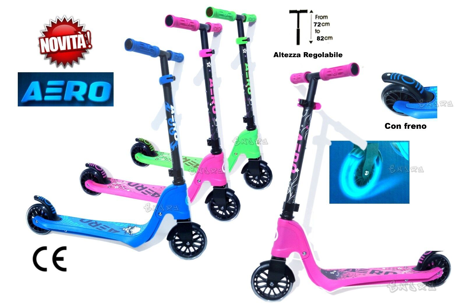 Scooter pink girl aluminum 2 Wheels 110.23 pounds Max height ADJUSTABLE