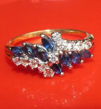 BELLISSIMO d'occasione 18ct Oro Giallo Zaffiro e Diamante Cluster Anello dimensione N