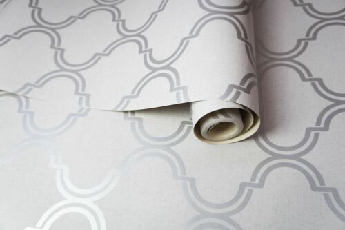 Geometric Trellis Pattern Wallpaper Grey Silver Sparkle Metallic Holden Decor