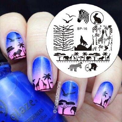 BORN PRETTY Nagel Stempel Schablone Nail Art Stamping Baum Bild Templates Dekor