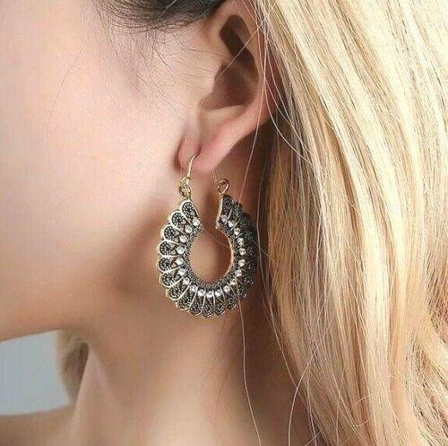 Women/'s Vintage Fashion Boho Gold Silver Tibetan Gypsy Style Drop Hoop Earrings