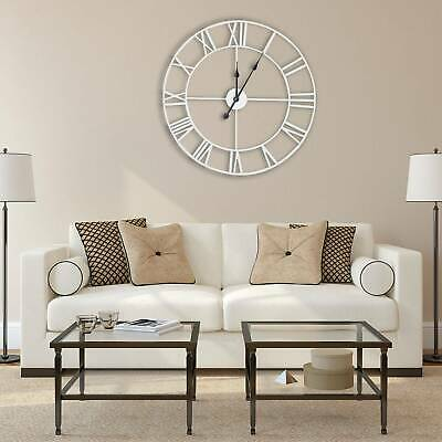 60CM EXTRA LARGE ROMAN NUMERALS SKELETON WALL CLOCK BIG GIANT OPEN FACE ROUND UK