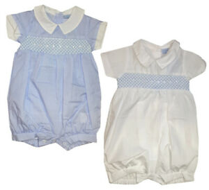 BNWT BABY GIRLS BOYS SPANISH ROMANY PETER PAN COLLAR PINK BLUE ROMPER GIFT BOX