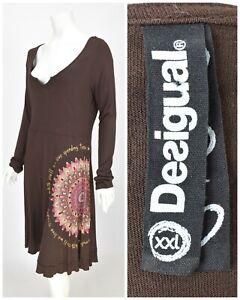 Womens-Desigual-Bodycon-Dress-Brown-Viscose-Stretch-Scoop-Neck-Size-XXL-2XL