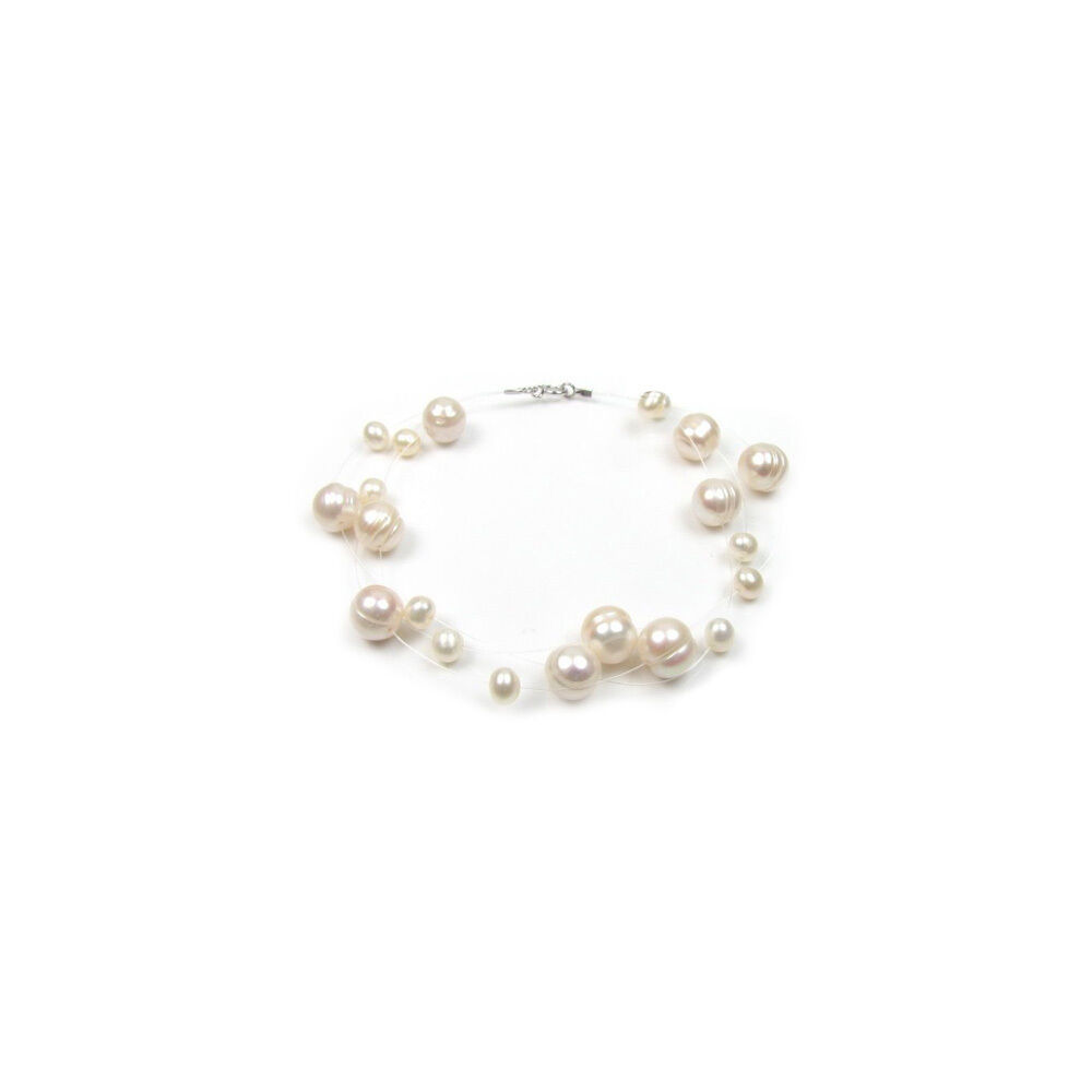 Bracelet Female Invisible 3 ranks Nylon and Cultured pearls water dou
