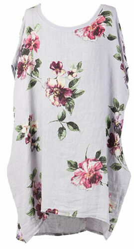 Ladies Italian Floral Linen Baggy Top Tunic Women Summer Lagenlook Top Plus Size
