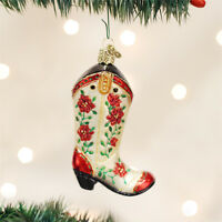 Christmas Cowgirl Boot Glass Ornament