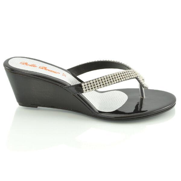 ec299ed71b52d Womens Wedge Heel Flip Flops Sandals Diamante Sparkly Ladies Toe Post Shoes  3-9. Hover to zoom