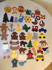LOT OF 45+ Craft Flat Wood Shapes Cut Out Pieces. Cabin. Holiday. Repaint.
