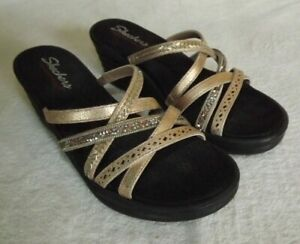 Skechers-Rumblers-Wave-New-Lassie-Black-Blk-Womens-Wedge-Sandals-Size-8-GUC
