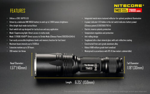 Includes Rechargeable Battery w// NCP40 Holster Nitecore TM03 Flashlight Combo