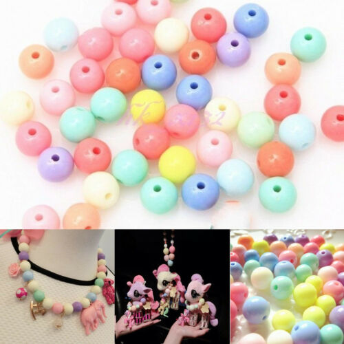 100 Pcs Mixed Color Acrylic Plastic Smooth Round Ball Loose Spacer Beads 8mm  US