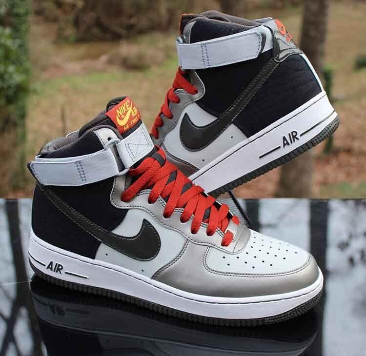 Nike Air Force 1 High '07 Dusty Grey 315121-022 Newsprint Metallic Size 9.5