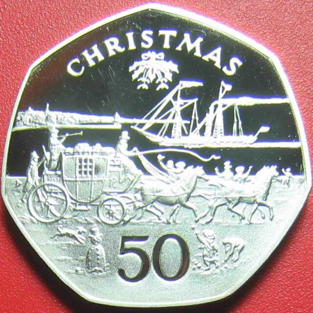 1980 ISLE OF MAN 50 PENCE SILVER PROOF CHRISTMAS HORSES CARRIAGE BOAT RARE COIN!