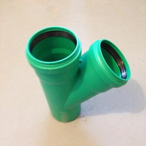 KG 2000 Rohr PP KG  Abzweig DN 125/125 45 Grad Abwasserrohr  Kanalrohr grün