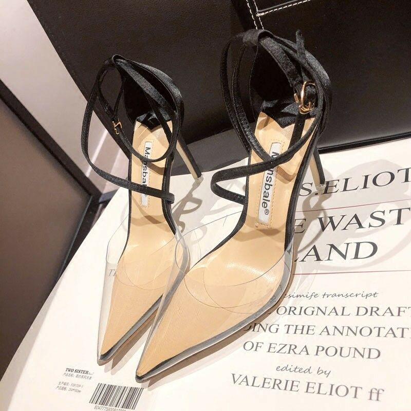 Womens Clear Transparent Pointed Toe Pump Strappy Stilettos High Heel Shoes hot
