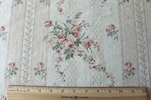 Pretty-French-Antique-Home-Printed-Linen-Fabric-Roses-amp-Ribbons-L-36-034-X-W-32-034