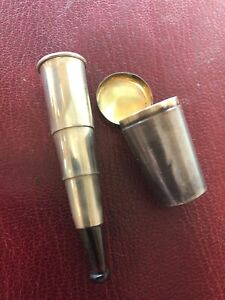 ANTIQUE-TELESCOPING-STERLING-SILVER-CIGAR-HOLDER-amp-CASE-FOB-FOR-WATCH-CHAIN