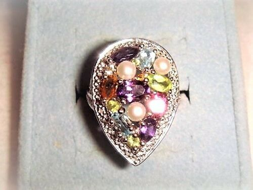 Multi gemstone, SOLID .925 ring, size 6  pearl, amethyst,NEW, QVC HSN