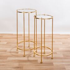 355d1c85ae4ef9 item 4 GOLD LEAF METAL ROUND GLASS TOP NEST SET OF 2 SIDE END LAMP COFFEE  TABLE -GOLD LEAF METAL ROUND GLASS TOP NEST SET OF 2 SIDE END LAMP COFFEE  TABLE