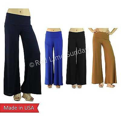 USA Solid Color Palazzo Stretchy Solid Foldover Wide Leg High Waist Flare Pants
