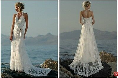 Stunning Sexy New Appliques Beach Halter V Neck Lace Bridal Gown Wedding Dresses