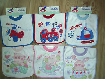 PULL/POP OVER BABY/CHILD BOY/GIRL TOWELLING BIB FEEDING DRIBBLE