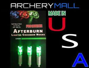 3-GREEN-AFTERBURN-CROSSBOW-ARROWS-LIGHTED-NOCKS-HALF-MOON-297-302-I-D