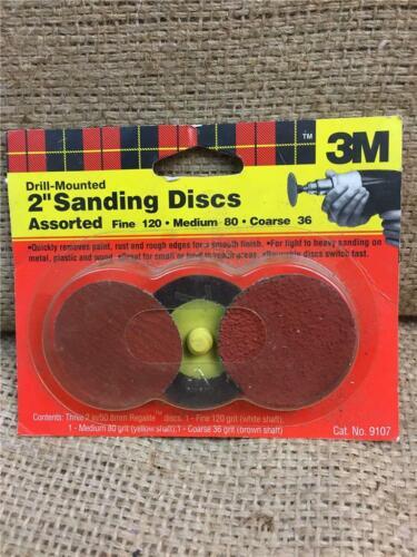 "CLEARANCE LOT Y184 3M 2/"" 50mm SANDING DISCS ROLOC FINE MEDIUM COARSE DRILL MOUNT"
