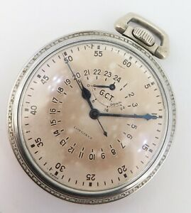 WWII-Longines-G-C-T-24-Hour-US-Army-Air-Corps-Navigation-Pocket-Watch-A-9-Case