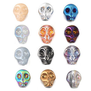 40Pcs-Glass-Loose-Beads-Skull-AB-Rainbow-Colour-Halloween-Jewellery-Making-Craft