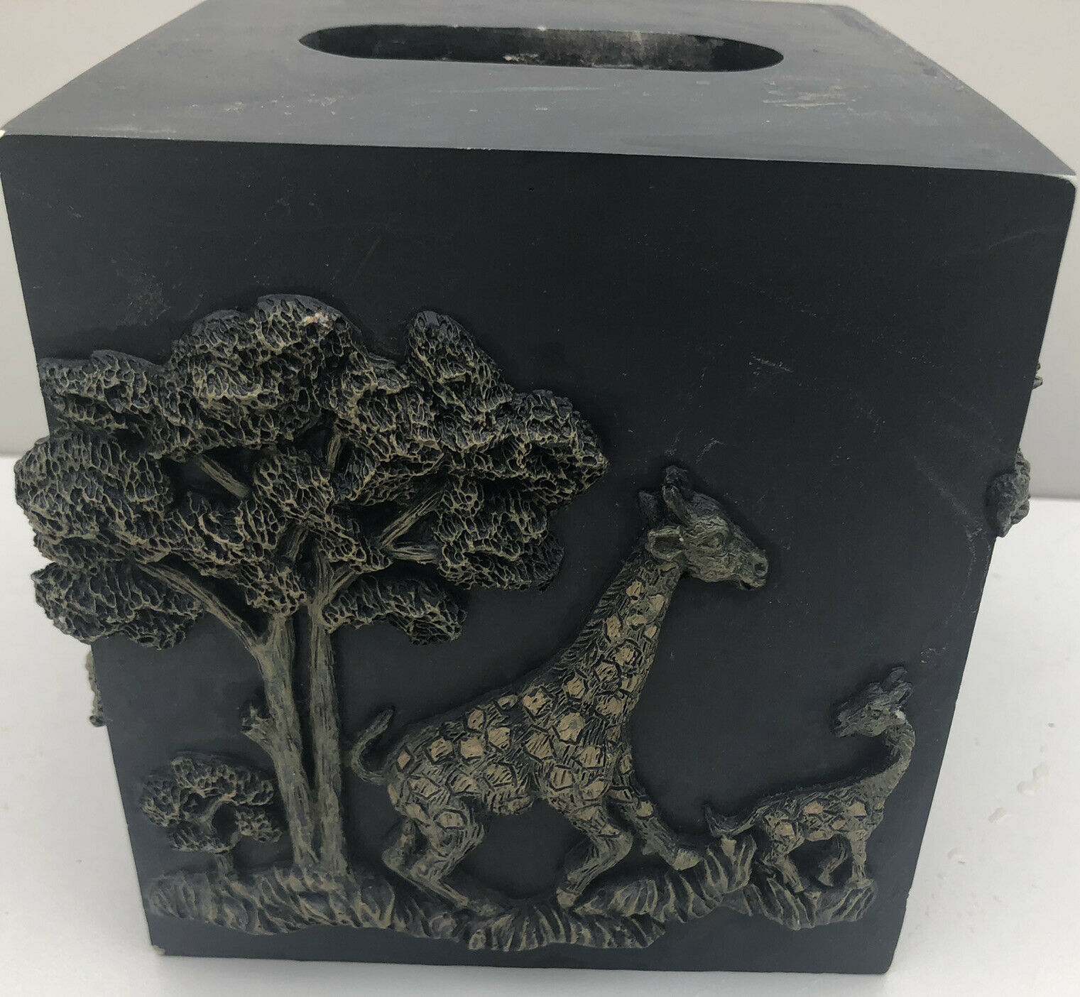 African Safari Wildlife Tissue Cover Box Elephant Giraffe Leopard Rhino Black 3D