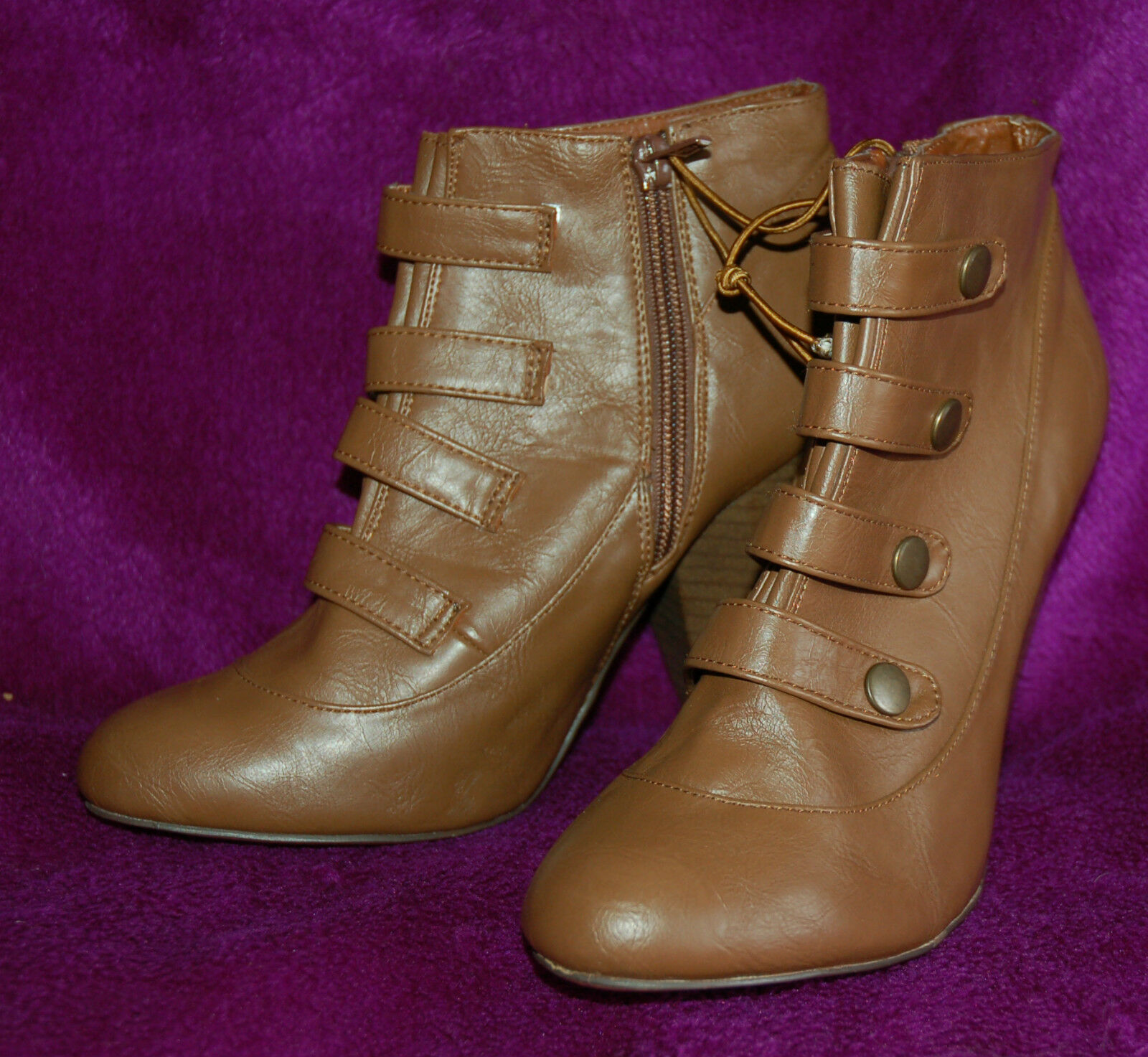 NEW Sz 5 Faux Leather Tan High heel Boots 4 popper straps Victorian Downton