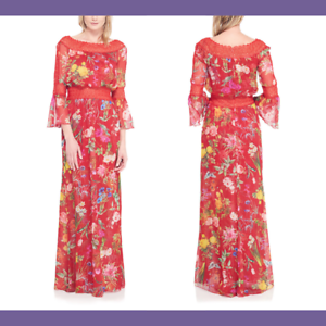 NWT  528 Tadashi Shoji Louna Floral Off the Shoulder Gown röd [SZ 00]35;G397