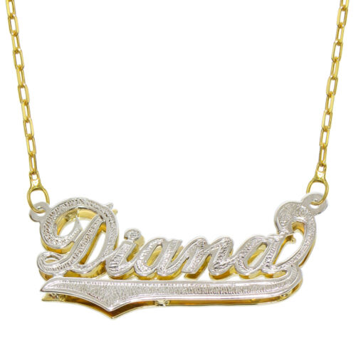 14K Two Tone Gold Personalized Double Plate 3D Name Necklace Style 3