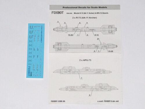 /& APU-73 Pylon 1//48 AA-11 Archer Foxbot 48-045 Stencils Soviet Missile R-73