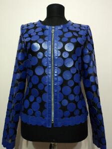 Blue-Leather-Jacket-Woman-Coat-Women-Zip-Short-Light-Round-Collar-All-Size-D7