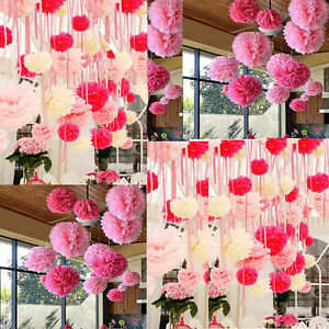 10x Wedding Decorations Tissue Paper Pompoms Hanging Pom