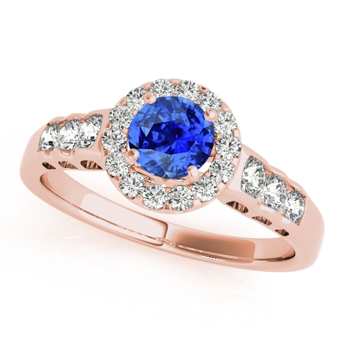 1.40 Ct. Halo Tanzanite And Diamond Engagement  Ring In 14k pink White gold