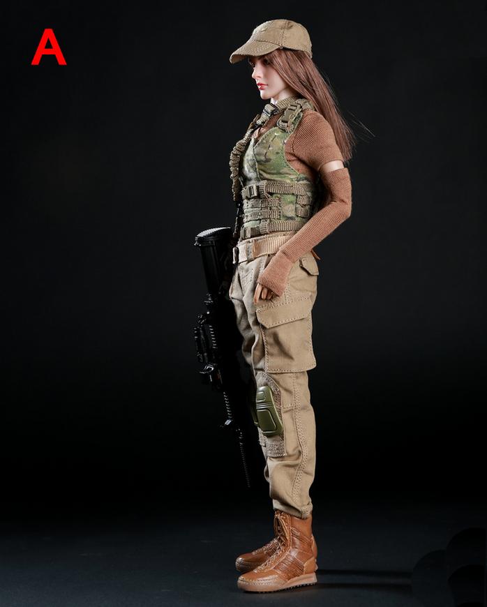 1 6 Scale Scale Scale Soldier Female capi di abgreeliamento Tactical Army Military Combat Suit Set 2 Style 8777e4
