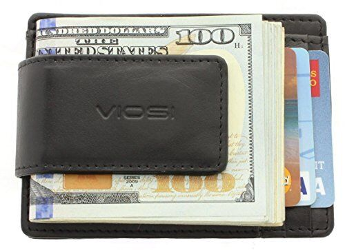 holder Black Slim Leather Money Clip Wallet Card slots I.D Front Pocket Secure