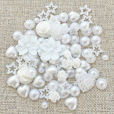 80 Mix White Shabby Chic Resin Flatbacks Craft Cardmaking Embellishments